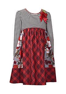 Girls 4-6x Stripe Roses Plaid Mash Up Dress