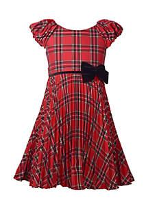 Girls 4-6x Crystal Pleat Plaid Dress