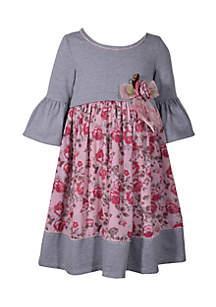 Girls 4-6x Stripe to Print Babydoll Dress
