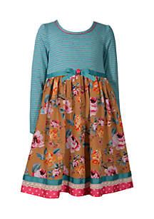Girls 4-6x Teal Stripe to Floral Ribbon Waist Dress