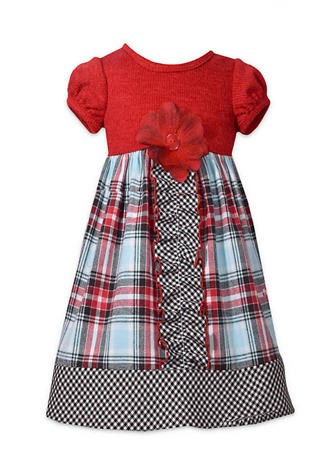 Bonnie Jean Girls 4-6x Mixed Plaid Babydoll Dress