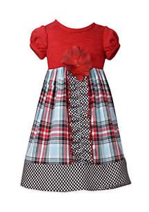 Girls 4-6x Mixed Plaid Babydoll Dress with Rib Knit Top