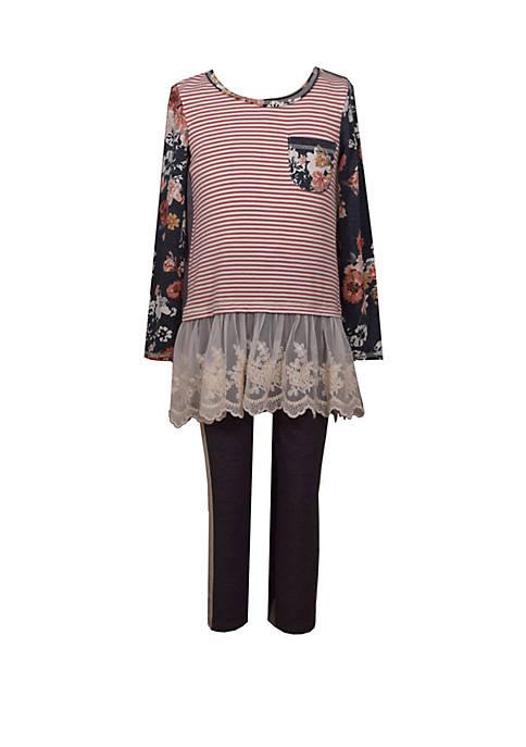 Bonnie Jean Girls 4-6x Striped Knit Flounce Legging