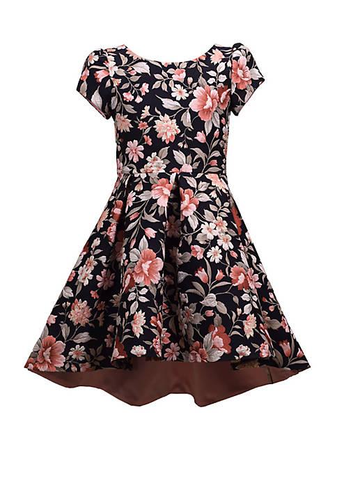Bonnie Jean Girls 4-6x Short Sleeve Floral Jacquard