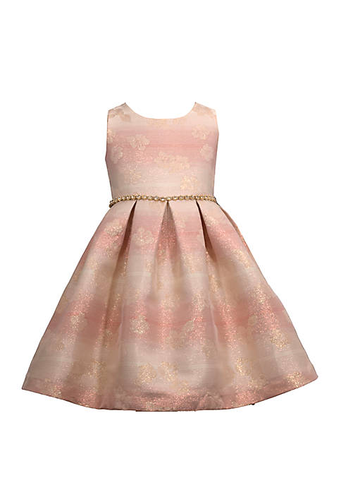 Girls 4-6x Sleeveless Jacquard Box Pleat Dress