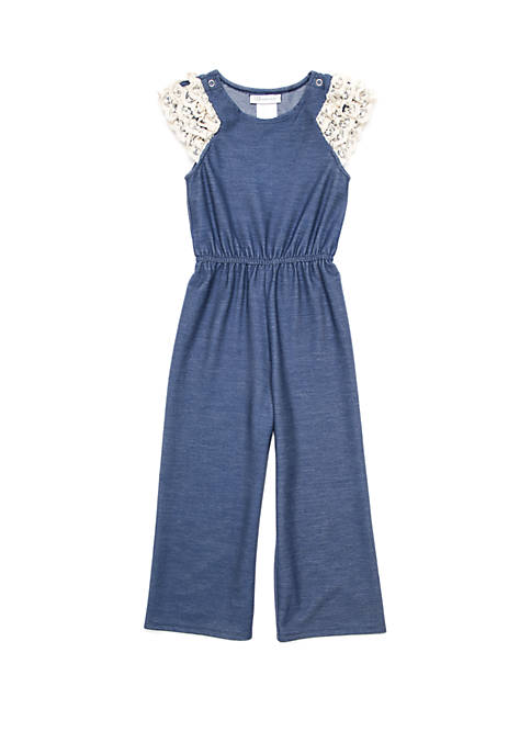 Bonnie Jean Girls 4-6x Chambray Jumpsuit