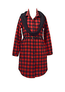 Bonnie Jean Girls 4-6x Long Sleeve Check Button Front Shirt Dress
