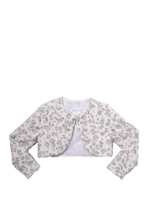 Bonnie Jean Girls 4-6x Snow Leopard Print Fur