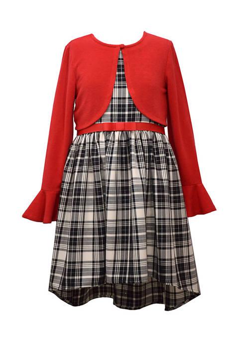 Girls 7-16 Plaid Cardi Dress