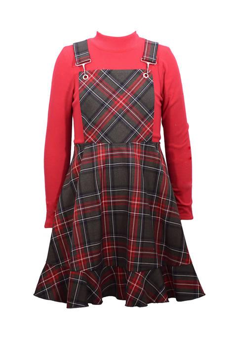 Girls 7-16 Plaid Jumper Dress with Turtleneck