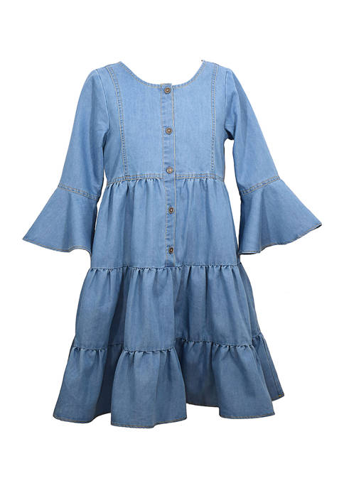 Bonnie Jean Girls 7-16 Bell Sleeve Chambray Tiered