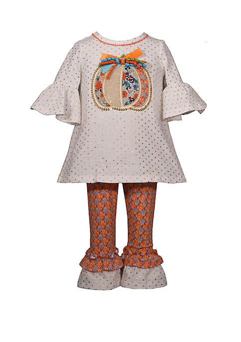Bonnie Jean Girls 7-16 Stripe Pumpkin Applique Set