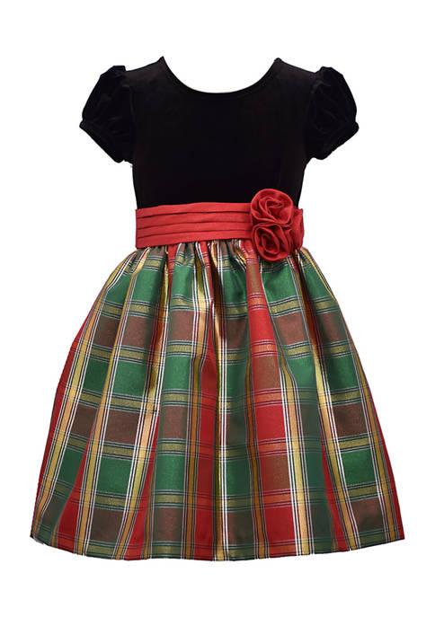Bonnie Jean Girls 4-6x Velvet and Plaid Dress