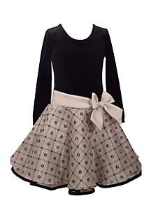Girls 4-6x Black Velvet Drop Waist Gold Dress