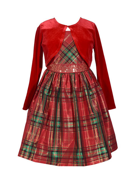 Girls 4-6x Plaid Dress With Jacket
