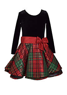Girls 4-6x Drop Waist Christmas Plaid Dress
