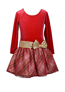 Girls 4-6x Drop Waist Velvet with Overlay Dress