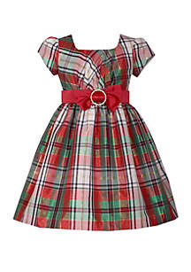 Girls 4-6x Short Sleeve Plaid Taffeta Dress