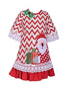 Girls 4-6x Chevron Santa Dress