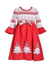 Girls 4-6x Tree Applique Dress