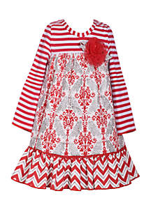 Girls 4-6x Red Grey Mixed Media Dress