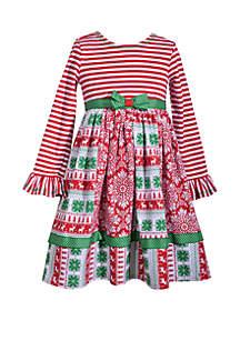 Girls 4-6x Christmas Mixed Media Dress