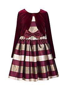 Girls 4-6x Burgundy Cardigan Stripe Dress Set