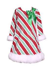 Girls 4-6x Red Green Candy Cane with Fur Dress