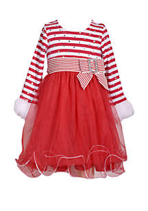 Girls 4-6x Candy Cane Stripe to Mesh Dress