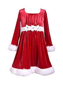 Girls 4-6x Velvet Present Bow Santa Dress