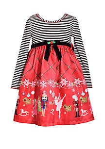 Girls 4-6x Nutcracker Border Dress