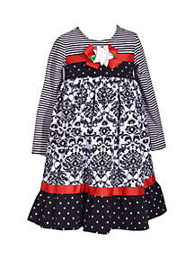 Girls 4-6x Black and White Mixed Media Bow Dress