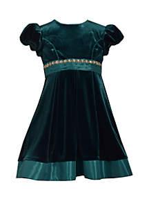 Girls 4-6x Green Velvet Trimmed Waistline Dress