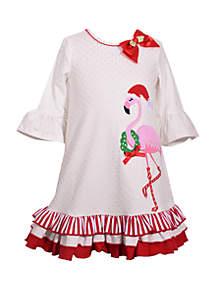 Girls 4-6x Christmas Flamingo Dress