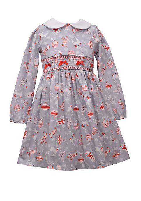 Girls 4-6x Smocked Print Dress