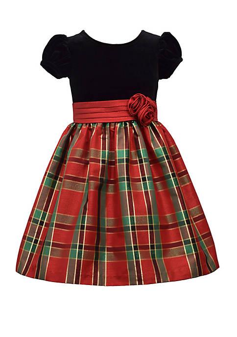 Bonnie Jean Girls 4-6x Velvet Plaid Dress