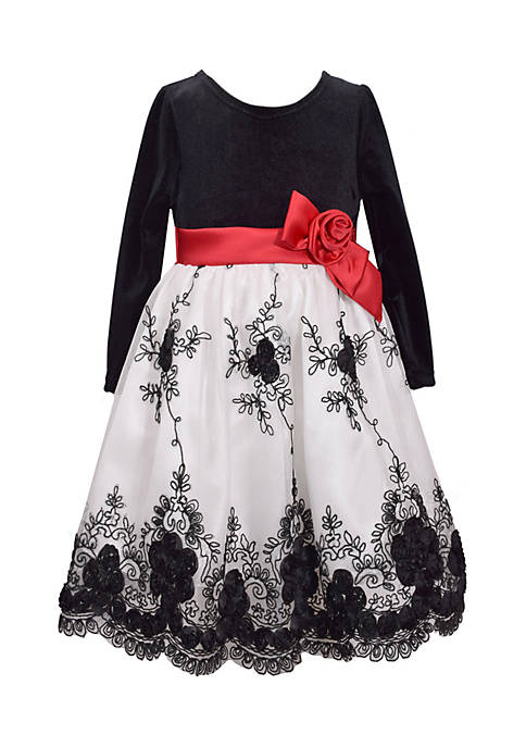 Bonnie Jean Floral Scallop Velvet Dress-Girls 7-16