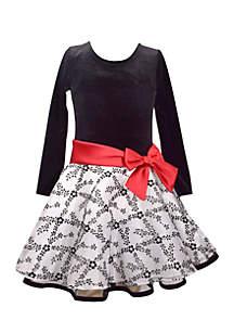 Velvet Floral Dress Girls 7-16