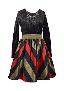 Chevron Velvet Dress Girls 7-16
