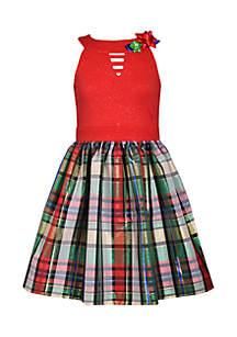Girls 7-16 Plaid Bow Dress