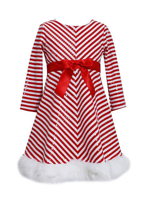 Bonnie Jean Girls 7-16 Striped Santa Dress