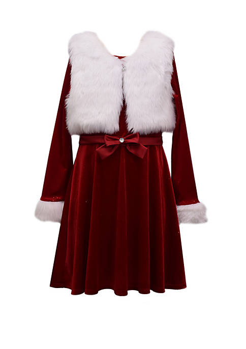 Bonnie Jean Girls 7-16 Santa Dress with Vest