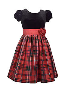Velvet Top Plaid Dress Girls Plus 7-14