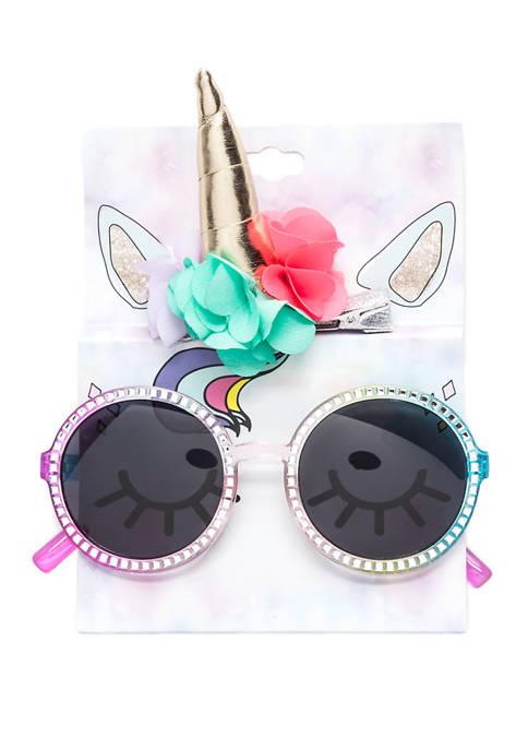 Riviera Girls Unicorn Sunglasses and Hair Clip