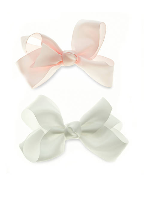 Riviera 2-Pack White and Light Pink Satin Bow