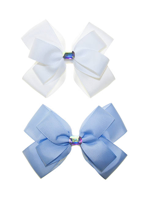 Toddler Girls Set of 2 Bows with Holographic Stones