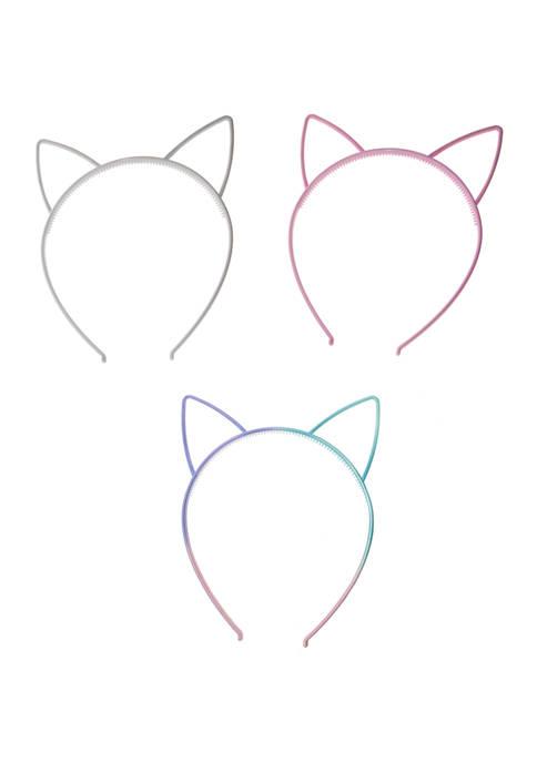 Toddler Girls Set of 3 Ombre Matte Cat Ear Hairbands