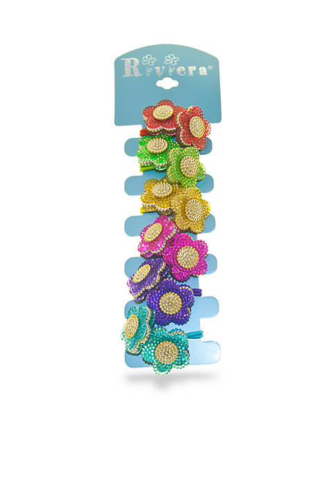 6-Pack Beaded Flower Popper Hairbands
