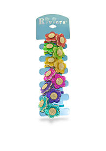 Riviera 6-Pack Beaded Flower Popper Hairbands