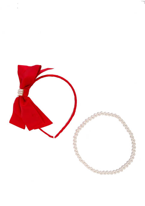 Riviera Girls Bow Headband and Pearl Necklace Set